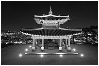 Seojangdae (western command post) and city lights, Suwon. South Korea (black and white)