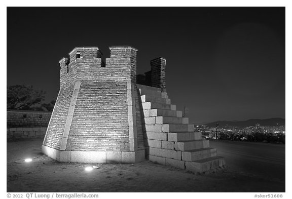 Seonodae (crossbow tower) at night, Suwon Hwaseong Fortress. South Korea (black and white)