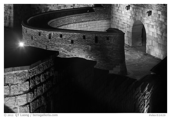 Hwaseomun gate fortifications from above,  Suwon Hwaseong Fortress. South Korea (black and white)