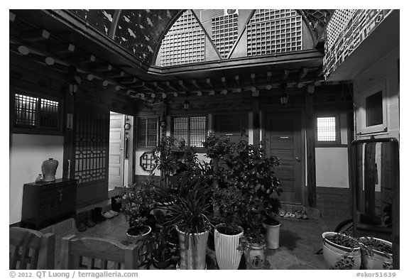 Common space of Hanok-style hostel. Seoul, South Korea (black and white)