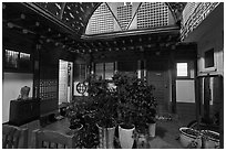 Common space of Hanok-style hostel. Seoul, South Korea ( black and white)