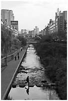 Man crossing Cheonggye stream. Seoul, South Korea ( black and white)