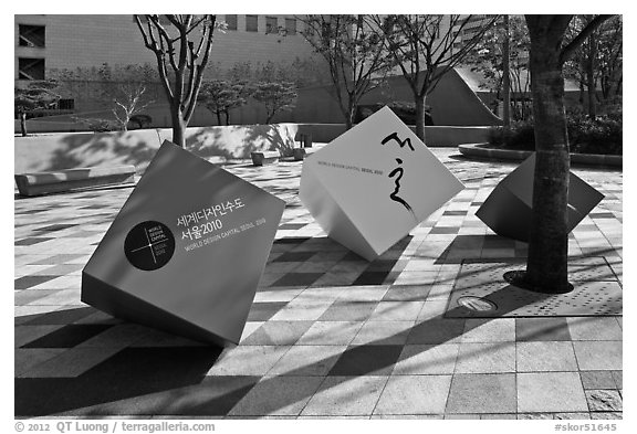 Sculptures celebrating city choice as world design capital. Seoul, South Korea (black and white)