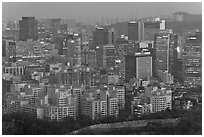 Central Seoul at dusk. Seoul, South Korea ( black and white)