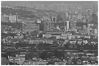 Gyeongbokgung and high-rises at dusk. Seoul, South Korea (black and white)