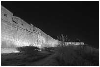 Suwon Hwaseong Fortress wall at night. South Korea ( black and white)