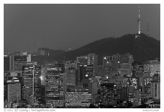 City skyline and Namsan hill at night. Seoul, South Korea (black and white)