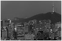 City skyline and Namsan hill at night. Seoul, South Korea ( black and white)
