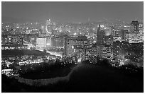 Old fortress wall and city skyline at night. Seoul, South Korea (black and white)