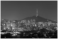 Seoul skyline with N Seoul Tower at night. Seoul, South Korea (black and white)