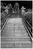 Stairs leading to sacred rocks, Seon-bawi. Seoul, South Korea ( black and white)
