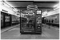 Vending machine in subway. Seoul, South Korea ( black and white)