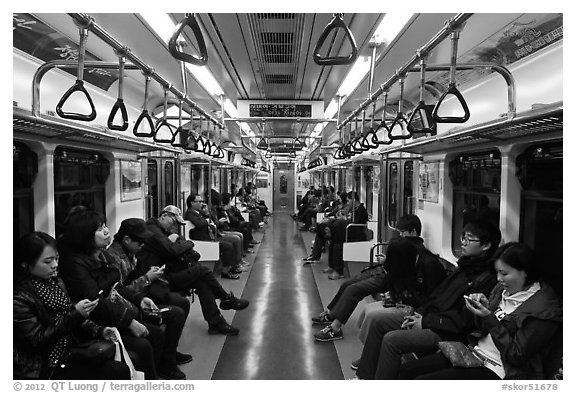 Inside subway car. Seoul, South Korea (black and white)