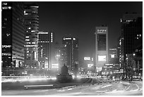 Large boulevard, lights, and high rises. Seoul, South Korea ( black and white)