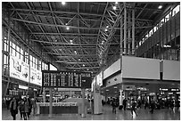 Main concourse of Seoul train station. Seoul, South Korea ( black and white)