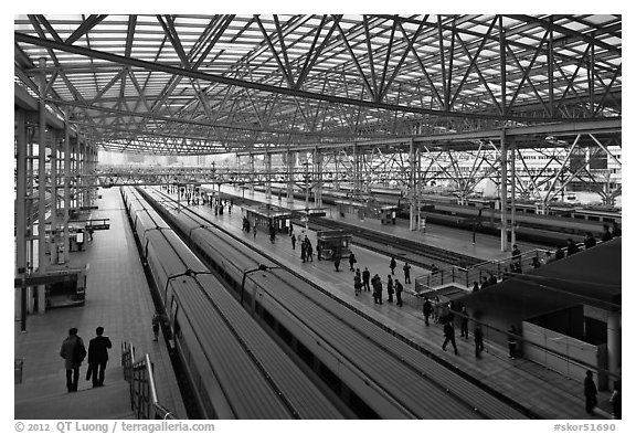 Trains in Seoul station. Seoul, South Korea (black and white)