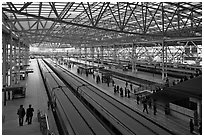 Trains in Seoul station. Seoul, South Korea ( black and white)