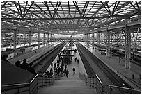 Seoul train station platforms. Seoul, South Korea ( black and white)
