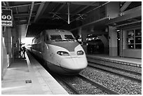 High speed KTX train. Daegu, South Korea ( black and white)