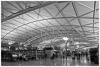 Incheon international airport main concourse. South Korea (black and white)