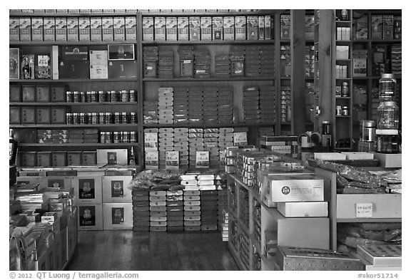 Inside traditional medicine store, Yakjeon-golmok. Daegu, South Korea (black and white)