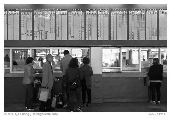 Bus terminal counter. Daegu, South Korea (black and white)