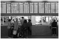 Bus terminal counter. Daegu, South Korea ( black and white)