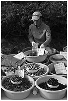 Man selling natural ingredients. South Korea ( black and white)