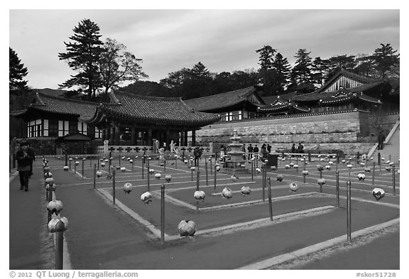 Labyrinth, Haeinsa Temple. South Korea (black and white)