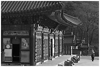 Haeinsa, temple of Jogye Order of Korean Buddhism. South Korea (black and white)