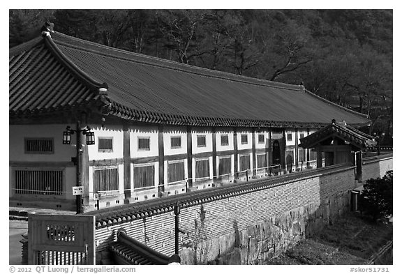 Janggyeong Panjeon, depository for the Tripitaka, Haeinsa Temple. South Korea (black and white)