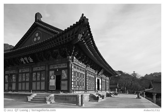 Daejeokkwangjeon (Hall of Great Silence and Light), Haein-sa Temple. South Korea (black and white)