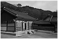 Haeinsa, Buddhist temple of Jogye Order in the Gaya Mountains. South Korea (black and white)