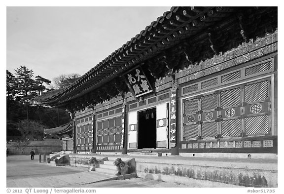Daejeokkwangjeon (main hall), Haein-sa Temple. South Korea (black and white)