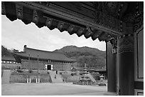 Haeinsa Temple framed by entrance gate. South Korea ( black and white)