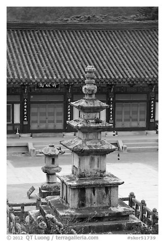 Stone pagoda in courtyard, Haein sa Temple. South Korea (black and white)
