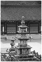 Stone pagoda in courtyard, Haein sa Temple. South Korea ( black and white)