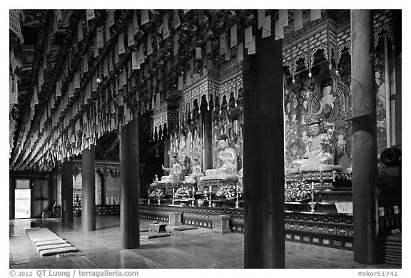 Interior of main hall, Haein-sa Temple. South Korea (black and white)