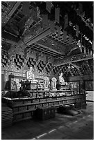 Gilded temple interior, Haein sa Temple. South Korea (black and white)
