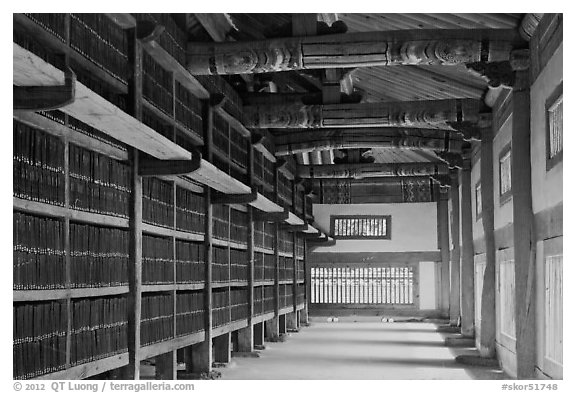 Tripitaka Koreana Woodblocks inside Janggyeong Panjeon, Haeinsa Temple. South Korea (black and white)