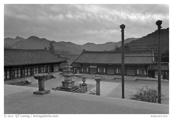 Haeinsa Temple and Gaya Mountains, evening. South Korea (black and white)