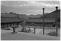 Haeinsa Temple and Gaya Mountains, evening. South Korea ( black and white)