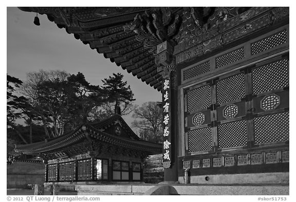 Haeinsa Temple at dusk. South Korea (black and white)