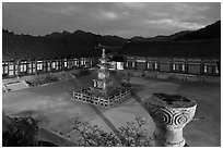 Stone pagoda and courtyard at dusk, Haeinsa Temple. South Korea ( black and white)