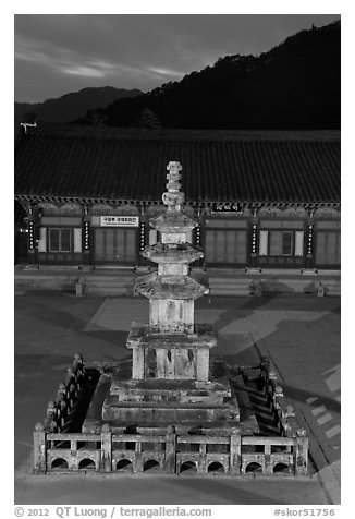Stone pagoda at dusk, Haeinsa Temple. South Korea (black and white)