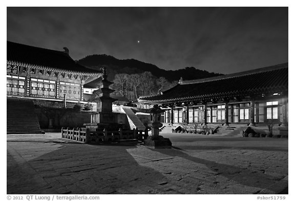 Haeinsa Temple at night. South Korea (black and white)