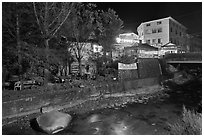 Country village near Haeinsa at night. South Korea (black and white)
