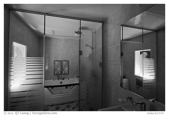Love hotel bathroom. Daegu, South Korea (black and white)