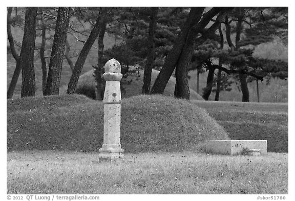 Funeral grass mounds. Hahoe Folk Village, South Korea (black and white)
