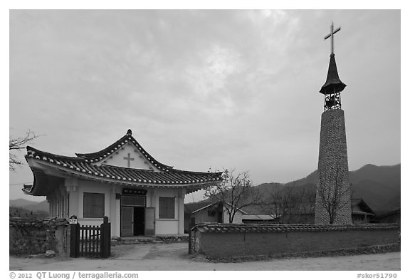 Church. Hahoe Folk Village, South Korea (black and white)